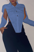Blue Sexy Solid Hollowed Out Turndown Collar Tops
