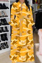 Yellow Fashion Casual Regular Sleeve Long Sleeve Turndown Collar Shirt Dress Floor Length Print Dresses