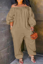 Light Coffee Fashion Casual Solid Basic Off the Shoulder Plus Size Jumpsuits (No Pocket)