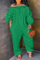 Green Fashion Casual Solid Basic Off the Shoulder Plus Size Jumpsuits (No Pocket)