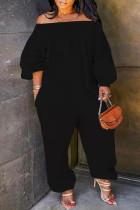 Black Fashion Casual Solid Basic Off the Shoulder Plus Size Jumpsuits (No Pocket)