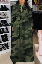 Green Fashion adult Sexy Cap Sleeve Long Sleeves Square Swagger Floor-Length Print camouflage ba