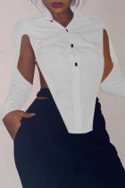 White Sexy Solid Hollowed Out Turndown Collar Tops