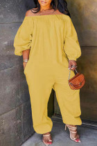 Yellow Fashion Casual Solid Basic Off the Shoulder Plus Size Jumpsuits (No Pocket)