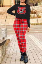 Black Casual Plaid Print Split Joint O Neck Long Sleeve Two Pieces