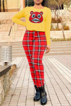 Yellow Casual Plaid Print Split Joint O Neck Long Sleeve Two Pieces