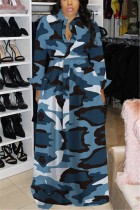 Light Blue Fashion adult Sexy Cap Sleeve Long Sleeves Square Swagger Floor-Length Print camouflage ba