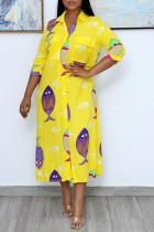 Yellow Casual Print Split Joint Buckle Turndown Collar Shirt Dress Dresses
