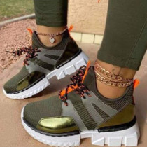 Army Green Fashion Casual Bandage Split Joint Sport Shoes