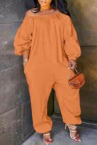 Orange Fashion Casual Solid Basic Off the Shoulder Plus Size Jumpsuits (No Pocket)