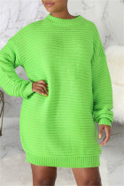 Green Fashion Casual Solid Basic O Neck Long Sleeve Dresses