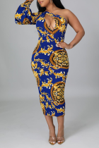 Blue Sexy Print Split Joint One Shoulder Pencil Skirt Dresses