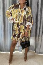 Gold Casual Print Split Joint Turndown Collar Shirt Dress Dresses