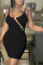 Black Sexy Solid Split Joint Off the Shoulder Pencil Skirt Dresses