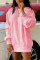 Pink Fashion Casual Solid Basic O Neck Long Sleeve Dresses