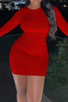 Red Sexy Solid Bandage Backless O Neck Long Sleeve Dresses
