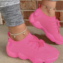 Rose Red Casual Sportswear Bandage Round Sport Shoes