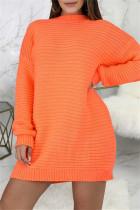 Orange Fashion Casual Solid Basic O Neck Long Sleeve Dresses