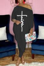 Black Fashion Casual Print Asymmetrical Oblique Collar Three Quarter Two Pieces