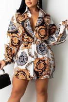 Yellow Casual Print Split Joint Buckle With Belt Turndown Collar Shirt Dress Dresses