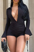 Black Sexy Solid Split Joint Turndown Collar Skinny Jumpsuits