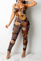 Brown Sexy Print Split Joint Spaghetti Strap Skinny Jumpsuits