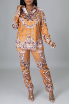Yellow Sexy Print Split Joint Turndown Collar Long Sleeve Two Pieces