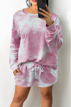 White Pink Casual Print Tie Dye Split Joint O Neck Long Sleeve Two Pieces