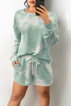 White Green Casual Print Tie Dye Split Joint O Neck Long Sleeve Two Pieces