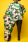 Green Sexy Print Split Joint Irregular Dress Plus Size Dresses