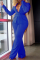 Royal Blue Casual Solid Split Joint Turndown Collar Long Sleeve Two Pieces