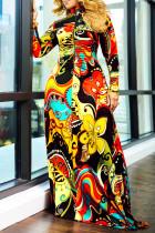 Yellow Sexy Print Split Joint Turtleneck Irregular Dress Dresses
