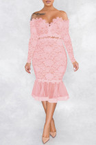 Pink Sexy Patchwork Embroidered Backless Off the Shoulder Long Sleeve Dresses