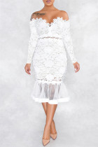 White Sexy Patchwork Embroidered Backless Off the Shoulder Long Sleeve Dresses