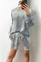 Grey Casual Print Tie Dye Split Joint O Neck Long Sleeve Two Pieces
