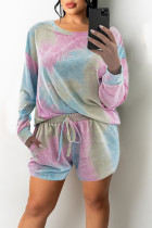 Blue Pink Casual Print Tie Dye Split Joint O Neck Long Sleeve Two Pieces