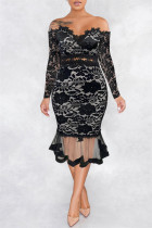Black Sexy Patchwork Embroidered Backless Off the Shoulder Long Sleeve Dresses