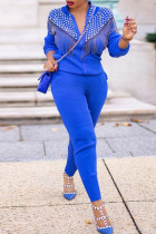 Blue Casual Solid Tassel Split Joint Beading Zipper Collar Long Sleeve Two Pieces