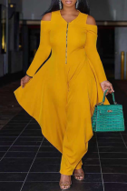 Yellow Casual Solid Split Joint V Neck Loose Jumpsuits
