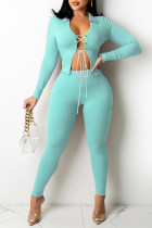 Mint green Fashion Casual Solid Bandage Turndown Collar Long Sleeve Two Pieces