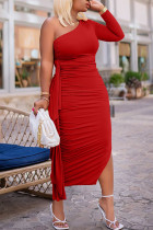 Red Sexy Solid Split Joint Flounce Fold Oblique Collar Pencil Skirt Dresses