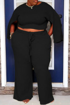 Black Casual Solid Slit O Neck Plus Size Two Pieces