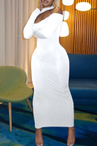 White Sexy Casual Solid Hollowed Out Split Joint Half A Turtleneck Long Sleeve Dresses