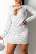 White Fashion Sexy Solid Hollowed Out Sequins Split Joint O Neck Long Sleeve Dresses