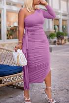 Purple Sexy Solid Split Joint Flounce Fold Oblique Collar Pencil Skirt Dresses