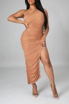 Brown Sexy Solid Slit One Shoulder Irregular Dress Dresses