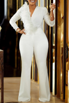 White Casual Solid Split Joint V Neck Boot Cut Jumpsuits