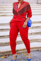 Red Casual Solid Tassel Split Joint Beading Zipper Collar Long Sleeve Two Pieces
