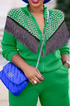 Green Casual Solid Tassel Split Joint Beading Zipper Collar Long Sleeve Two Pieces