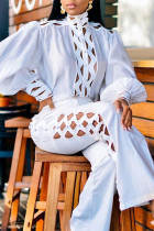 White Fashion Casual Solid Hollowed Out Turtleneck Long Sleeve Two Pieces